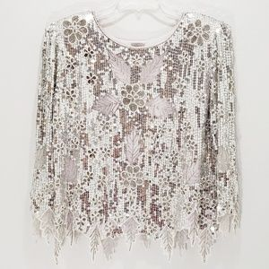 Vintage Sequin Top & Skirt Silver Floral Beaded
